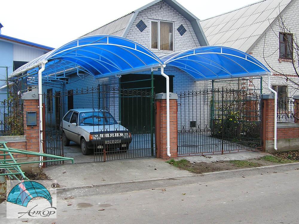 Навес для двора из поликарбоната